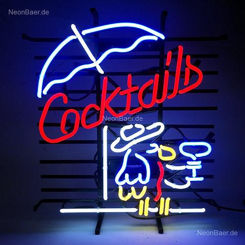 Cocktails Papagei mit Schirm Neonreklame
