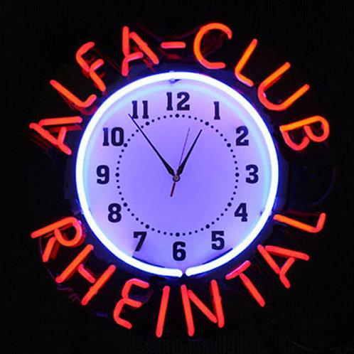 Alfa-Club Rheintal Neonuhr Leuchtreklame