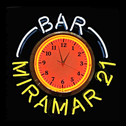 Bar Miramar Neonuhr Leuchtreklame