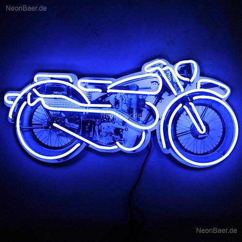 Motorrad Neonreklame Neonglas Leuchtreklame auf Aludibond