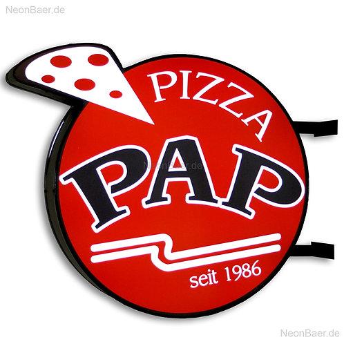 Ausleger-Leuchttransparent Pizza PAP Leuchtreklame