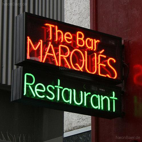 Neon-Ausleger Bar Marques im Aluminiumkasten, beidseitig