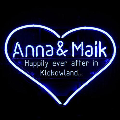 Anna & Maik Herz Neonreklame