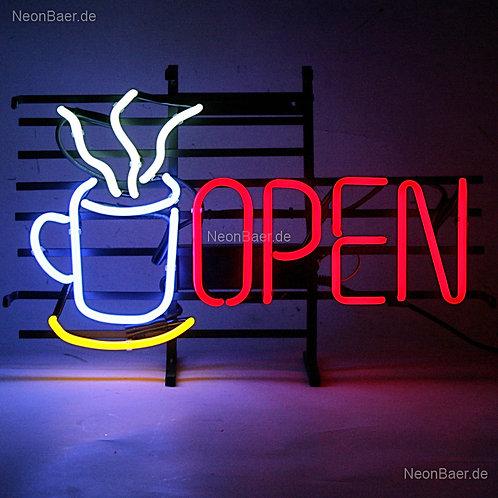 Open Neonbuchstaben Tasse Kaffeetasse Neonreklame
