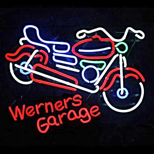 Werners Garage Motorrad Neonreklame