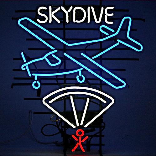 Skydive Flugzeug Fallschirmspringer Neon