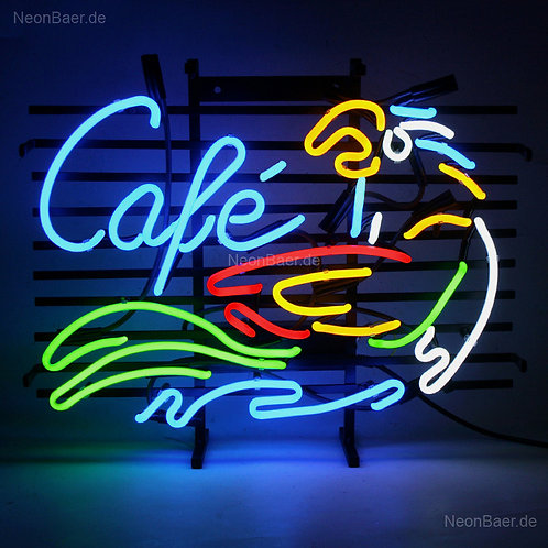 Cafe Papagei Neonglas Neonreklame Leuchtreklame