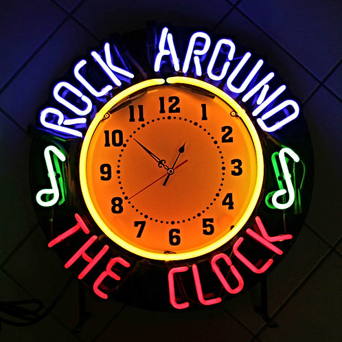 Rock Arround The Clock Neonuhr Wanduhr