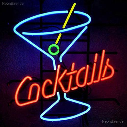 Cocktails Glas Neon Leuchtwerbung