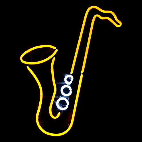 Saxophon Musik Neonreklame Leuchtreklame