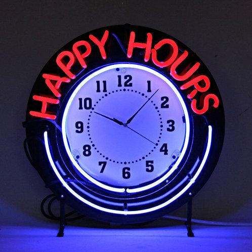 Happy Hours Neonuhr Neonreklame