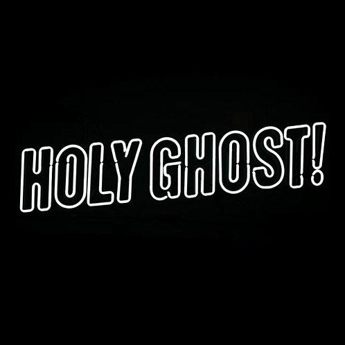 Holy Ghost Neonreklame im Plexiglaskasten