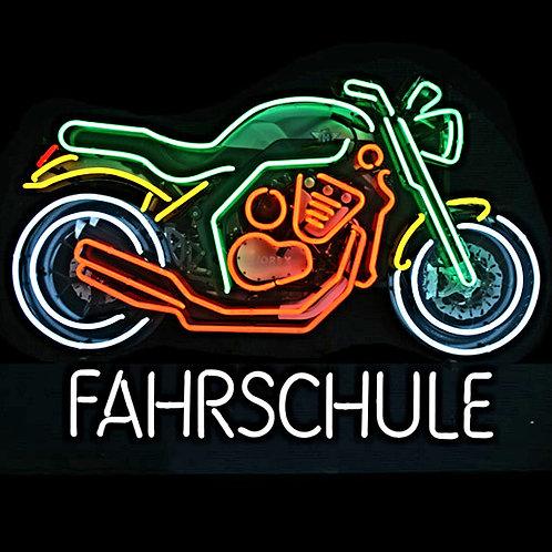Motorrad Fahrschule Neon Leuchtwerbung
