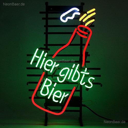 Hier gibts Bier Neonglas Bierreklame Neonreklame