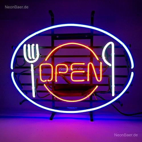 Open Besteck Gastronomie Neonreklame