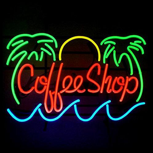 Coffeeshop Palmen Neonwerbung