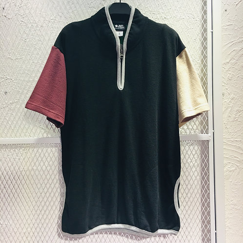 Gym Master - Zip Up Stand Collar Knit Tee