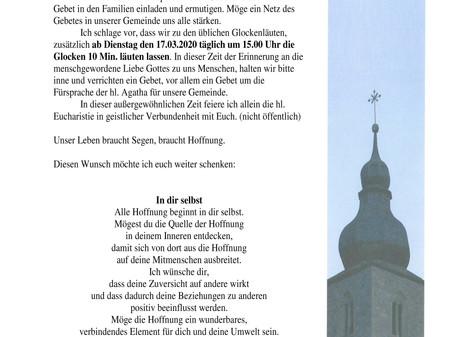 Brief an die Pfarrgemeinde