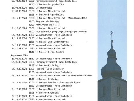 Sonntags-Gottesdienste Sommer 2020