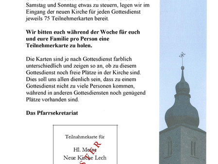 Information betreffend Besuch von Gottesdiensten - Teilnehmerkarte