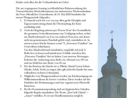 Brief an die Pfarrgemeinde betreffend Gottesdienste ab 15. Mai 2020