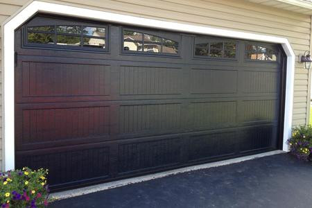 16x7 black ribbed long panel with 6 pane double arched carriage house windows