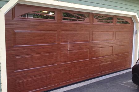 16x7 mahogany raised ranch panel with sunburst windows