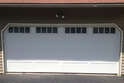 16x7 polar white ribbed long panel with 4 pane carriage house windows