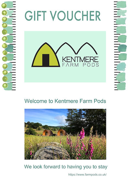 Gift voucher for Kentmere Farm Pods