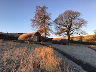 Crisp frosty start to the day as the sun starts to rise at Kentmere Farm pods