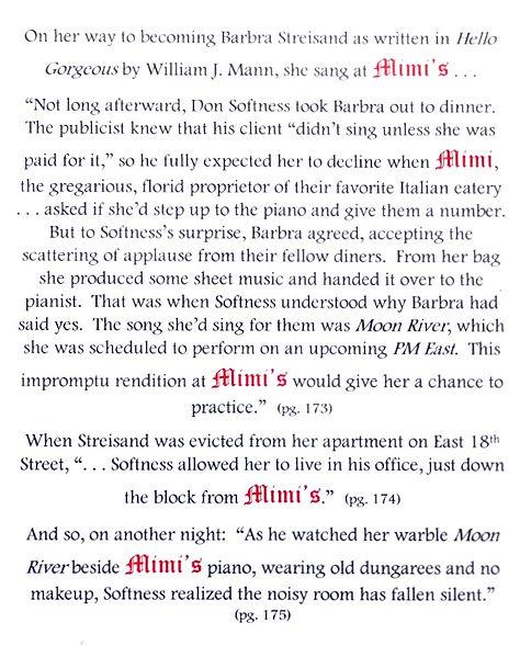 Barbra Streisand Mimi's Restaurant Piano Bar