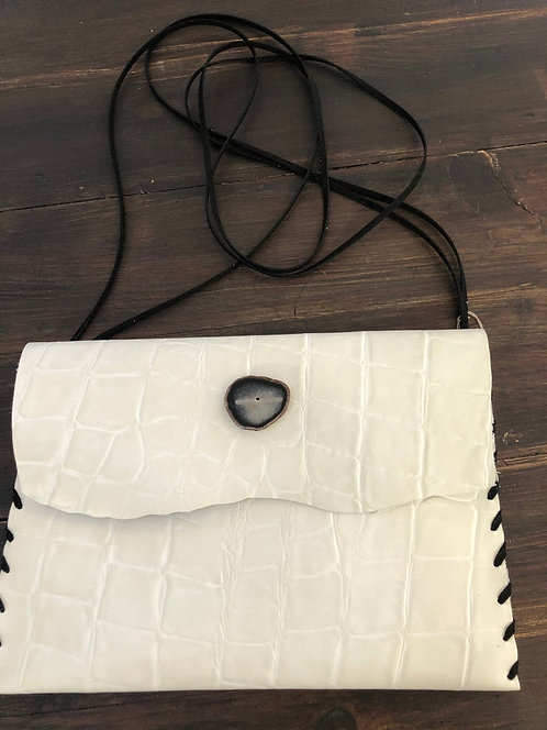 White Embossed Leather Crossbody Handbag