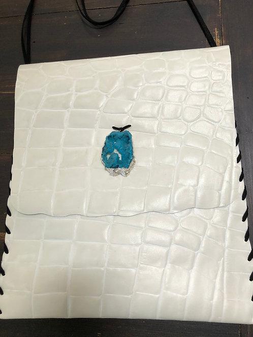 White Textured Large Leather Crossbody Handbag