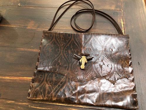 Dark Brown Embossed, Large Leather Crossbody Handbag