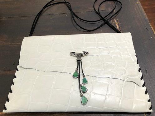 White Textured Leather Crossbody Handbag