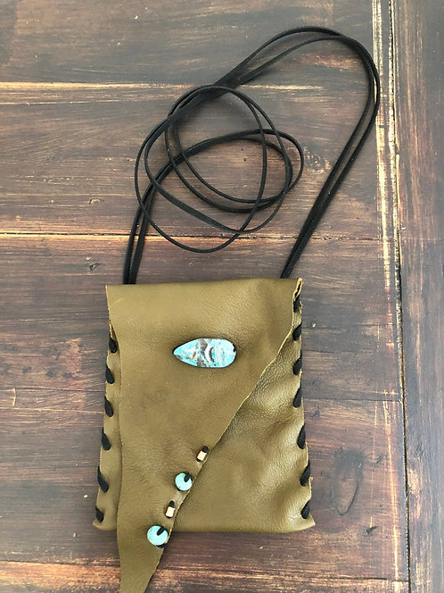 Olive Green Leather Crossbody Bag w/ Adjustable Strap & Turquoise Beads
