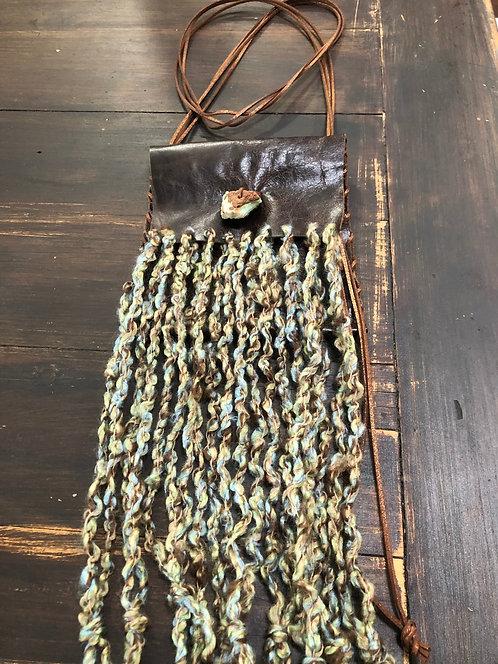 Dark Brown Distressed Leather w/ Wool Fringe Crossbody Handbag or Belt Bag