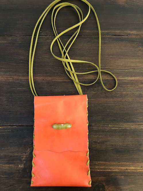 Tangerine Color Leather Crossbody Handbag