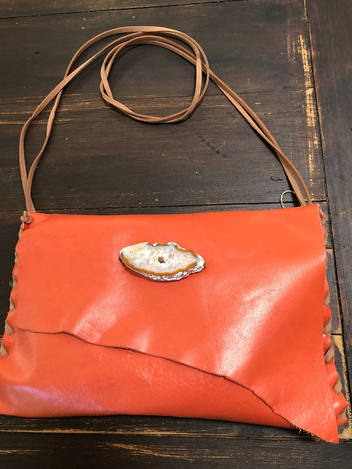 Tangerine Leather Asymmetrical Crossbody Handbag
