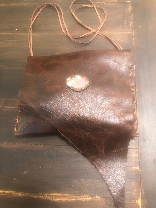 Dark Brown Distressed Leather Asymmetrical Crossbody Handbag
