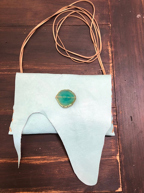 Sea Foam Green Leather Crossbody Handbag