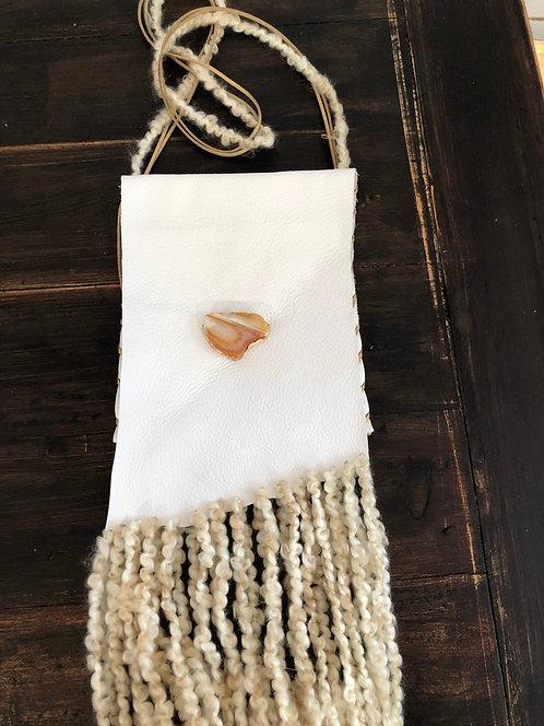 Soft White Leather Crossbody Handbag w/ Agate Stone & Wool Fringe