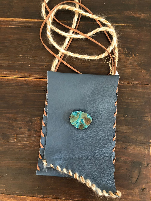 Royal Blue Leather Crossbody, Adjustable Suede Strap, w/ Agate Stone & Wool