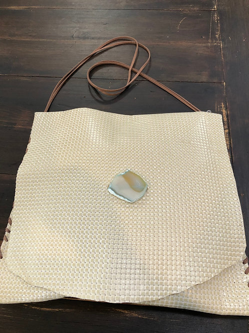 Off-White Textured, Large Leather Crossbody Handbag