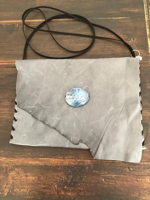 Grey Distressed Leather Crossbody Bag