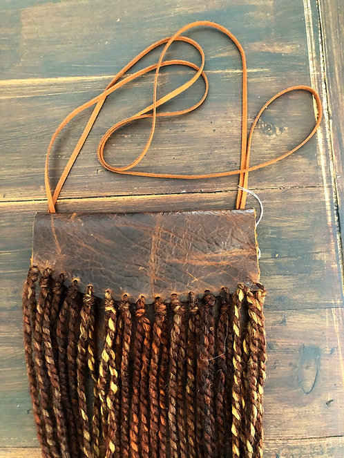 Dark Brown Distressed Leather Crossbody Bag