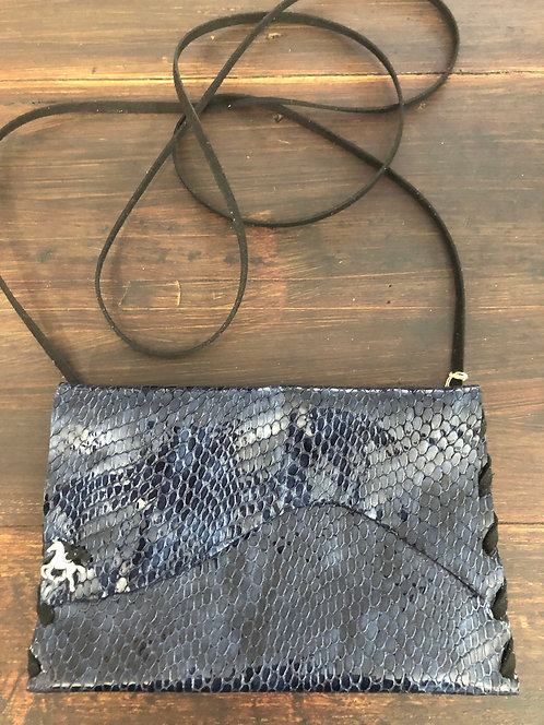 Black/Navy Blue Snake Look Glazed Leather Crossbody Handbag