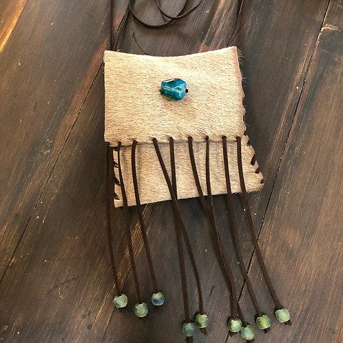 Tan Hair-On Small Leather Crossbody Handbag