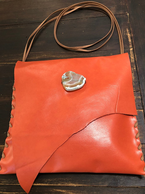 Tangerine Large Leather Asymmetrical Crossbody Handbag