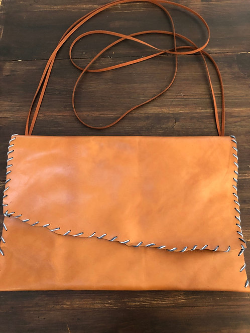 Cognac Colored Leather Adjustable Strap Handbag w/ Contrast Stitching